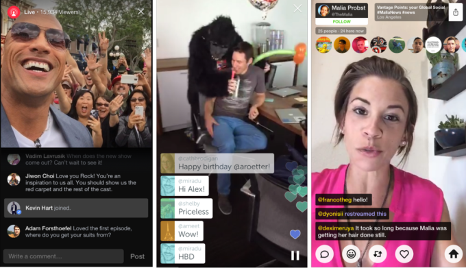 Facebook Live, Periscope, and Meerkat (from left)