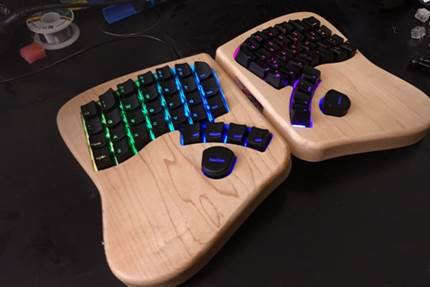 The Keyboardio ergonomic keyboard, which was incubated at Highway1 and is currently running a Kickstarter campaign.