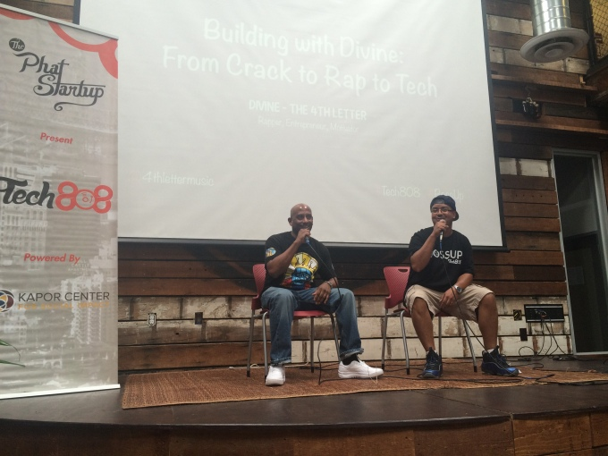 "Divine and Tech808 Co-Founder James Lopez during the ""Building with Divine: From Crack to Rap to Tech"" discussion."