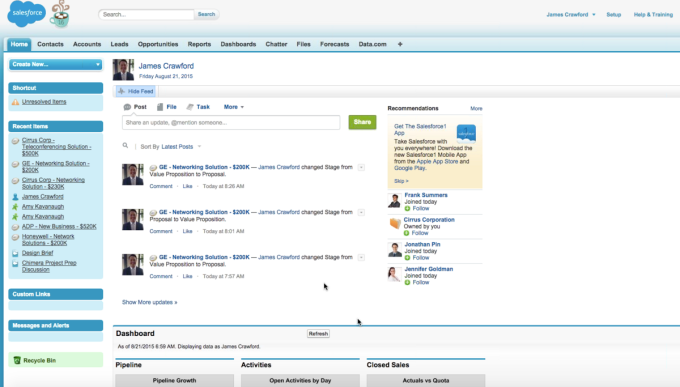 The older Salesforce CRM interface.