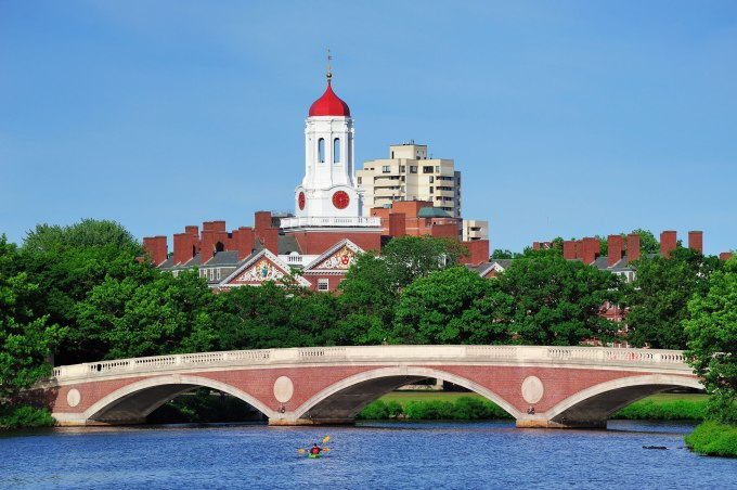 John W. Weeks Bridge and clock tower over Charles River in Harvard University campus.