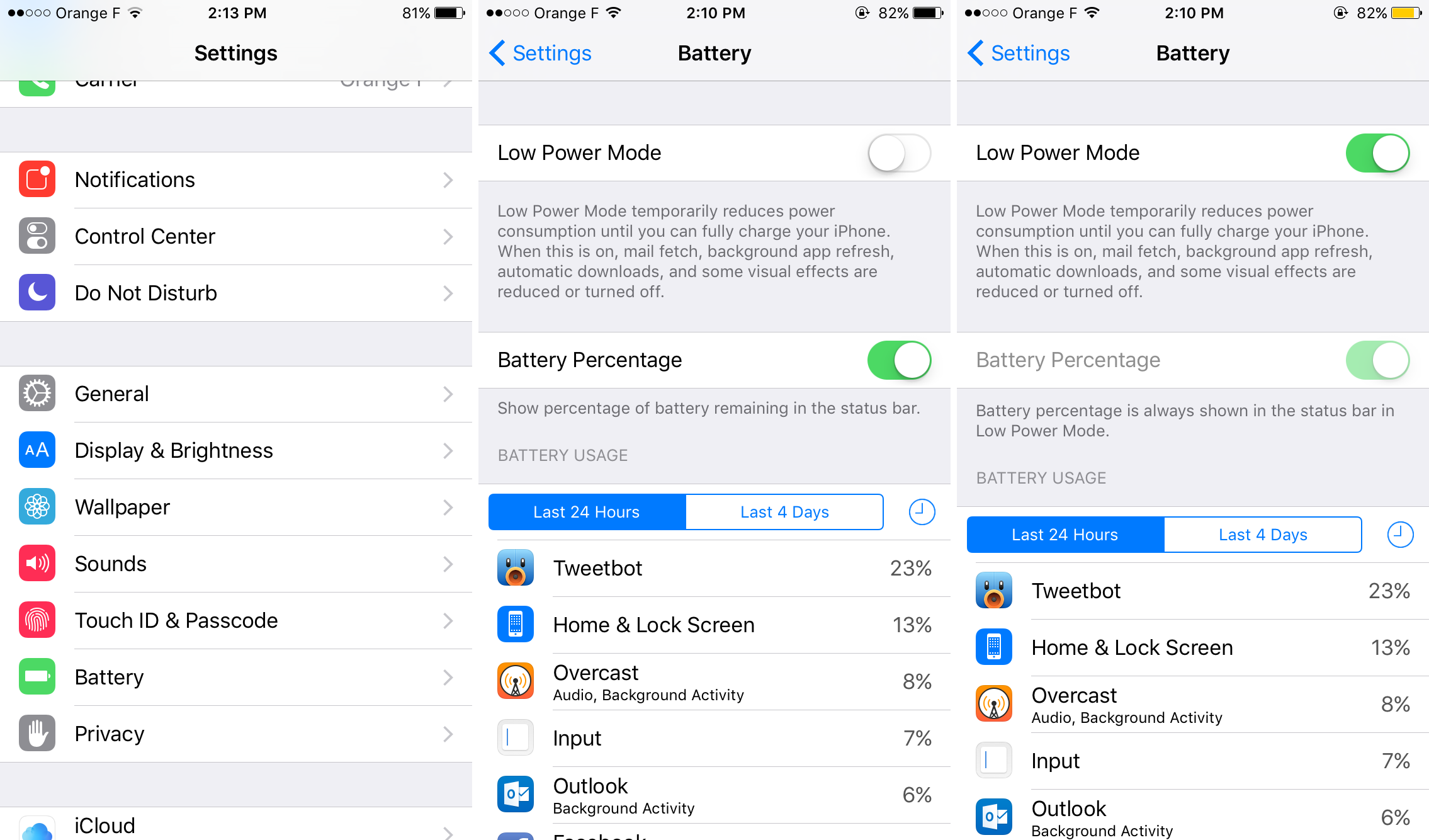 iOS 9 - Low Power Mode
