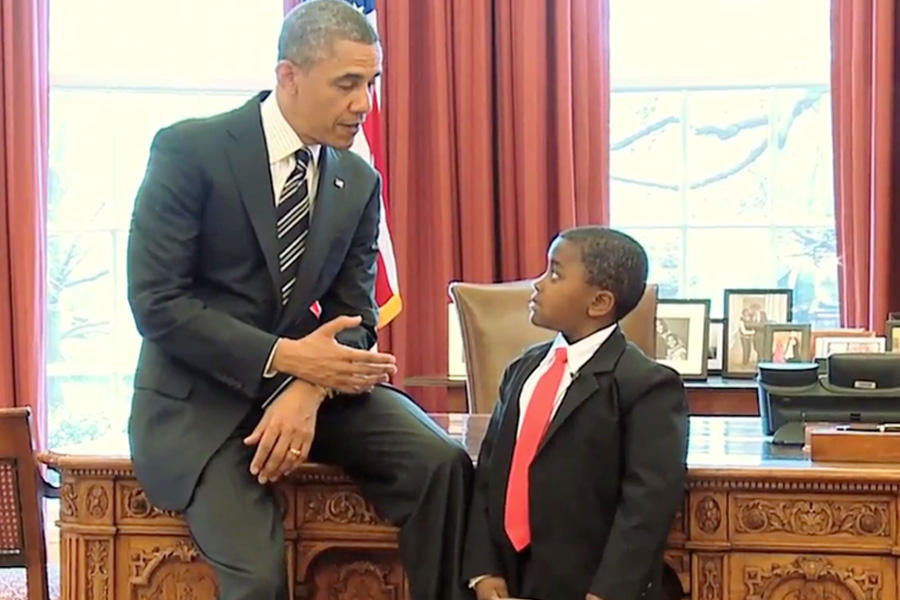 Kid President meeting actual President Obama.