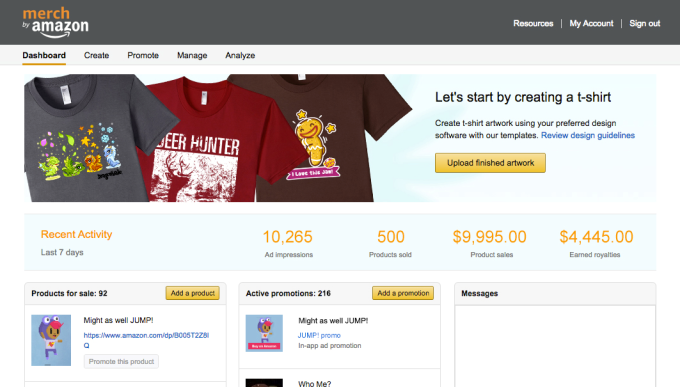 41a467d0 To use Merch by Amazon, creators upload their custom artwork to an online  dashboard – like a logo or art from their game – or they can use Amazon's  ...