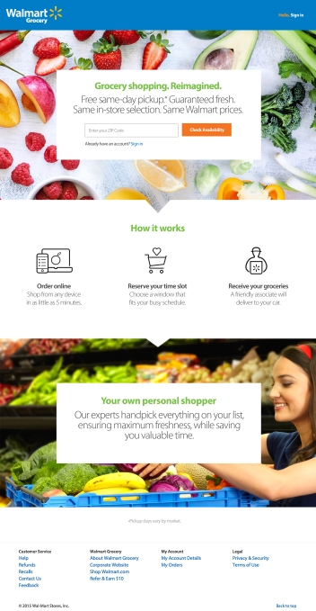 Walmart online grocery - full screen home page