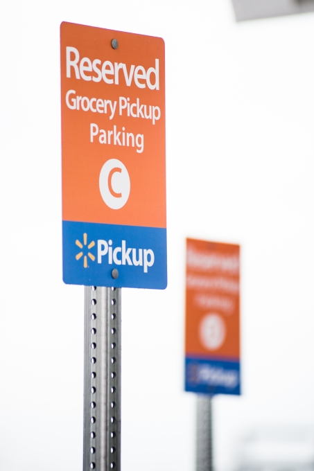 Walmart Online Grocery Pickup - Designated Parking Signs