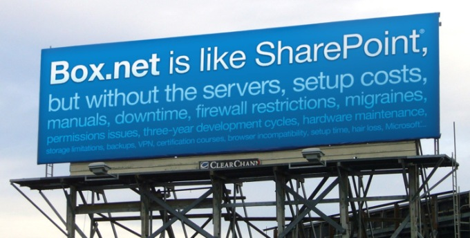 Box is like SharePoint without the...billboard from 2009.