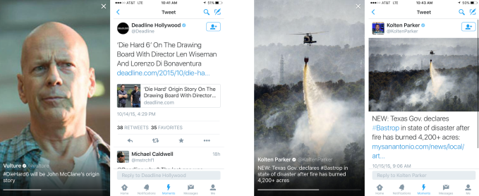 Both publishers and reporters have their links removed from tweets appearing in Moments
