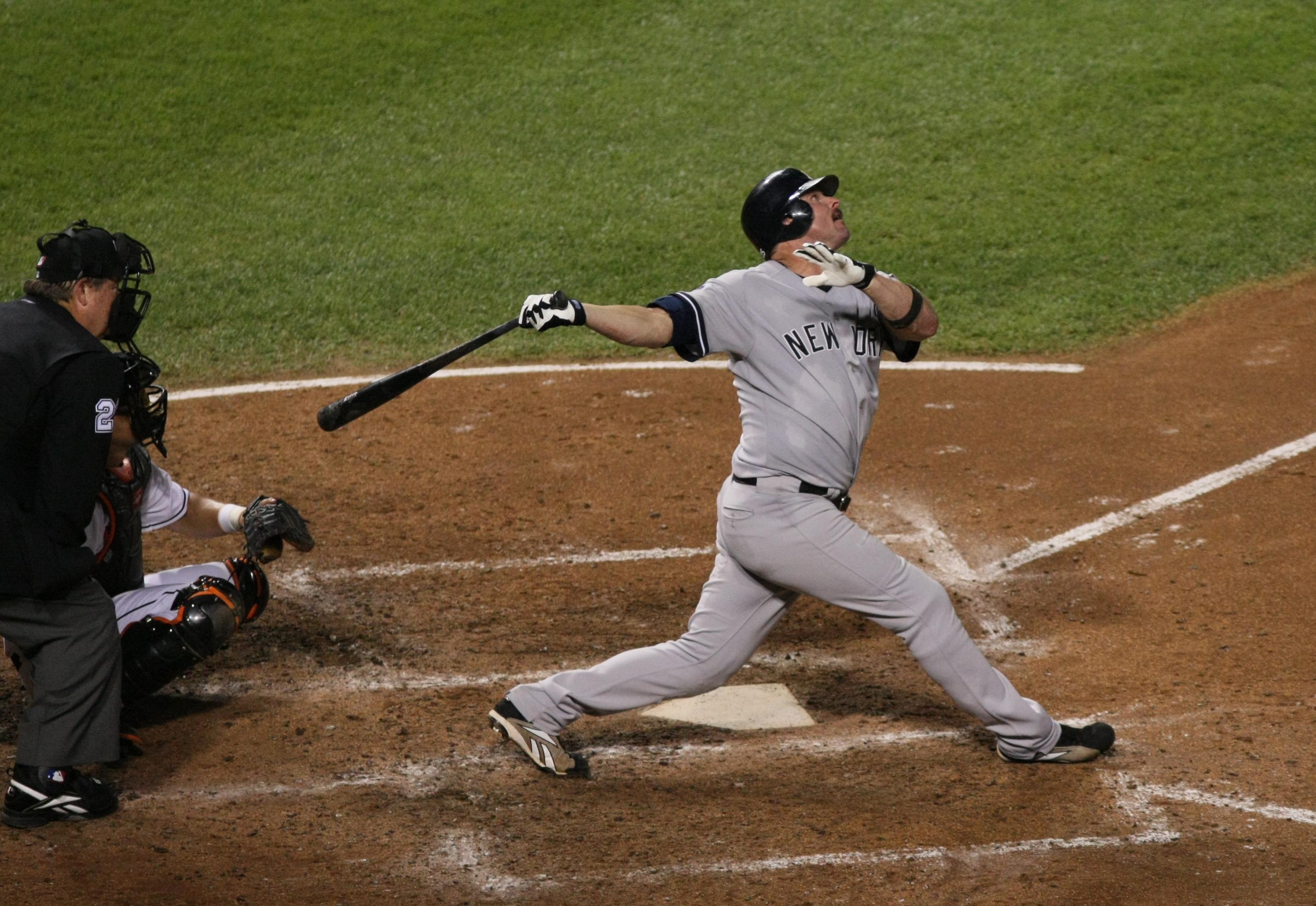 Baseball player cartoon swinging bat stock vector