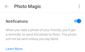 Facebook Photo Magic Settings