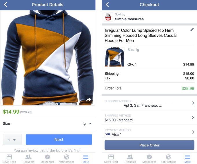 Facebook Shopping Checkout