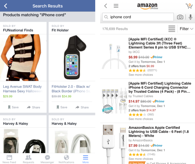 Facebook (left) has trouble accurately ranking shopping search results