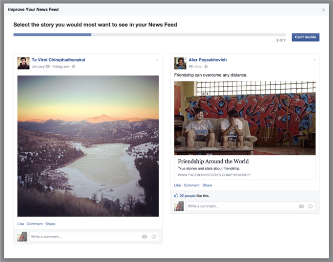 Facebook has also run surveys asking which of two News Feed surveys people like better