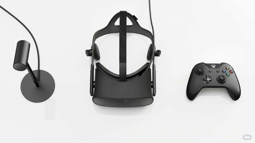 Oculus Rift consumer edition headset with positional tracker and controller