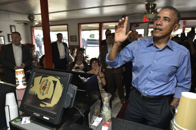 US President Barack Obama orders during a stop at Torchy's Tacos on March 11, 2016 in Austin, Texas. MANDEL NGAN/AFP/Getty Images