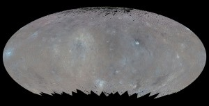 Global elliptical map of Ceres in enhanced color / Image courtesy of NASA