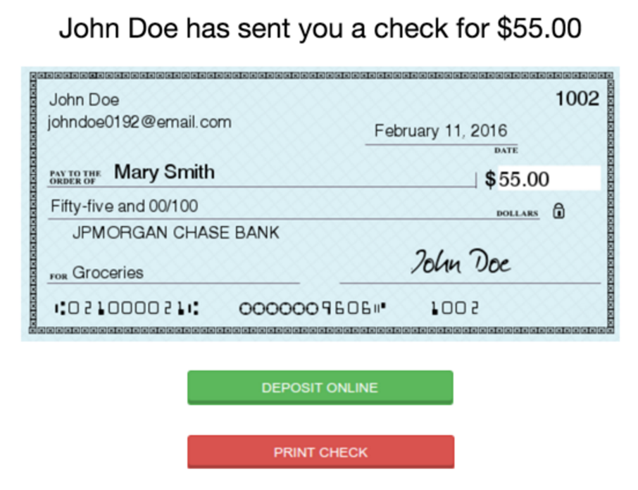 how to write a chase check example
