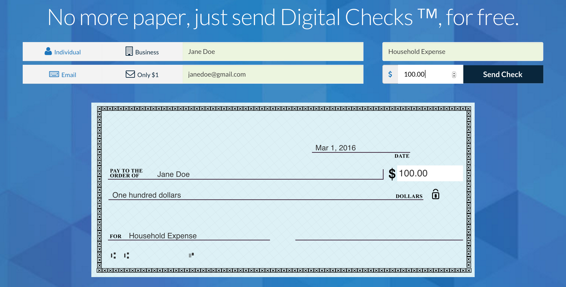 Checkbook lets you email anyone a digital check and deposit