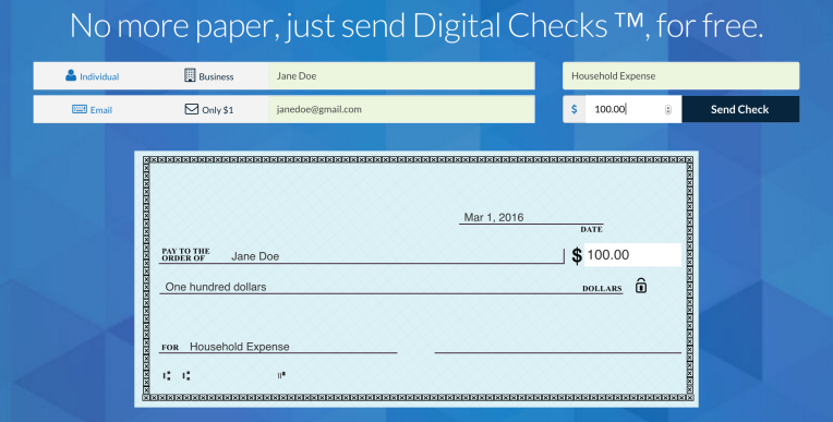 checkbook lets you email anyone a digital check and deposit it free