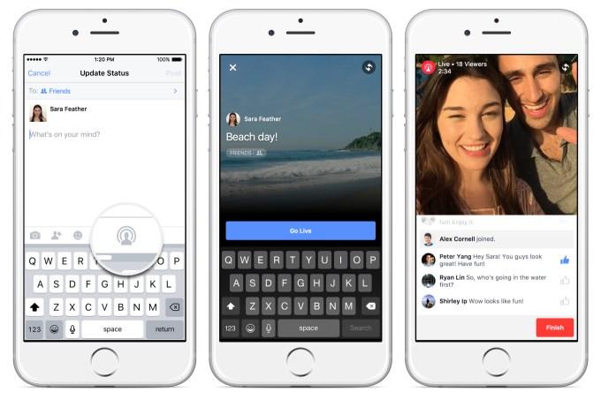 Facebook Live Start broadcast