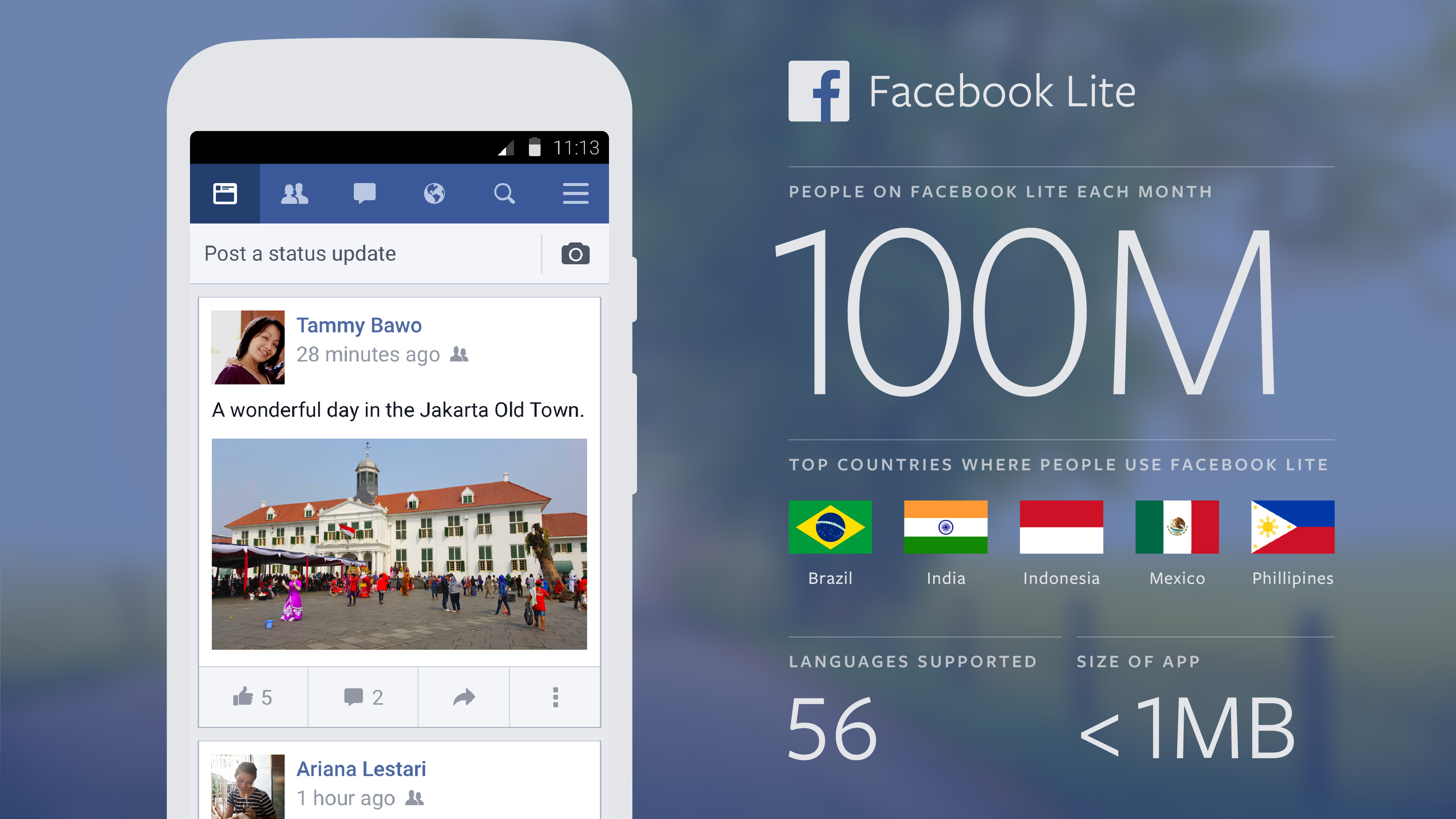 Facebook Lite Now Facebook S Fastest Growing App Reaches 100m Monthly Users Techcrunch Keeping up with friends is faster and easier than ever with the facebook lite app! facebook lite now facebook s fastest