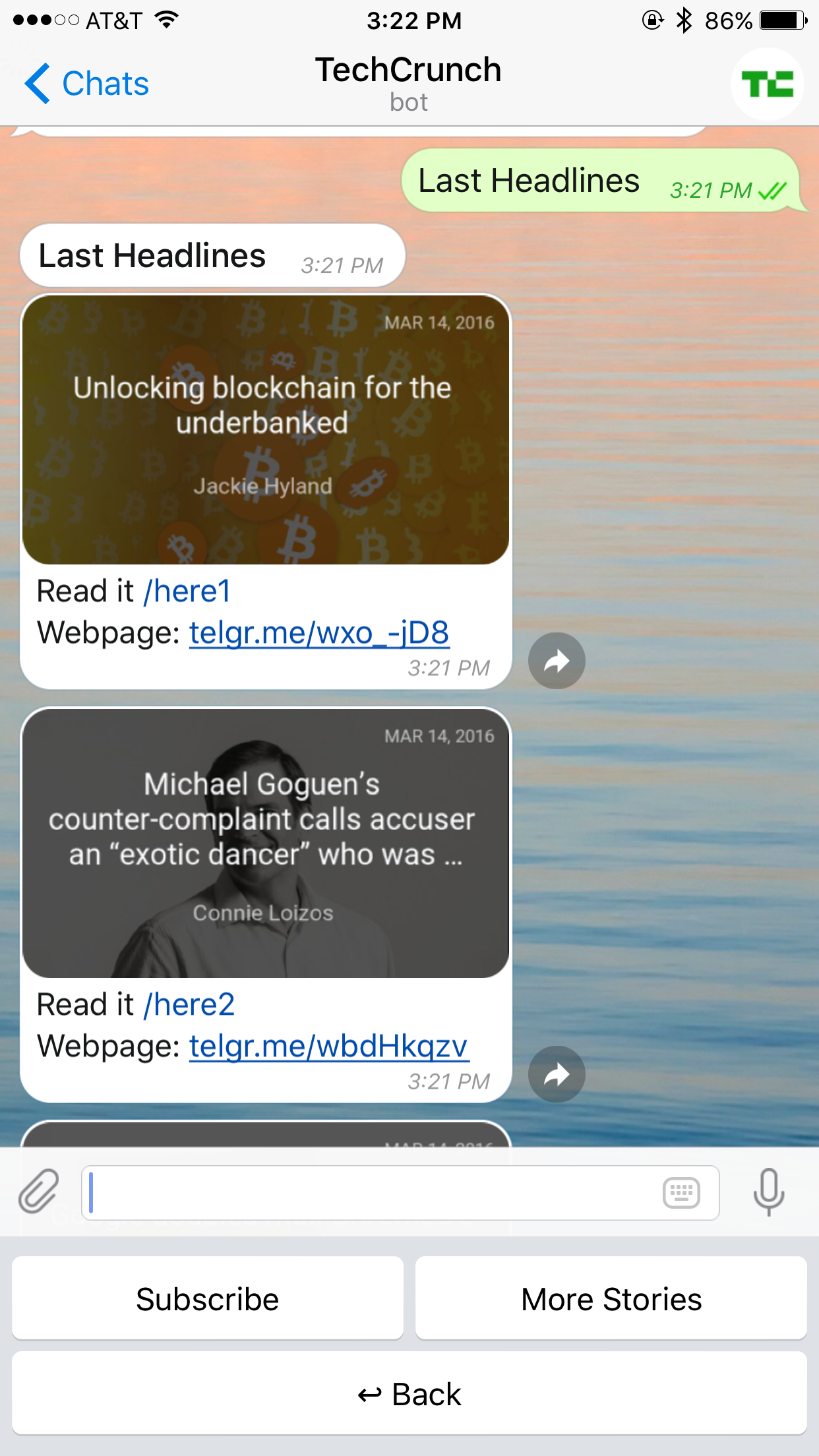 Check out the new AI-powered TechCrunch news bot on Telegram
