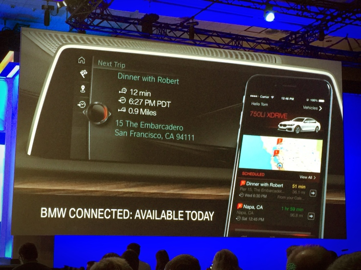 Showing off a key partnership with BMW at Build 2016... That's not a Windows Phone.