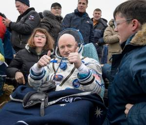 Astronaut Scott Kelly upon returning to Earth on March 1st / Image Courtesy of NASA/Bill Ingalls