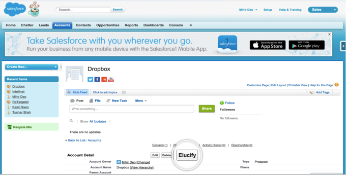 Elucify button in Salesforce CRM record window.