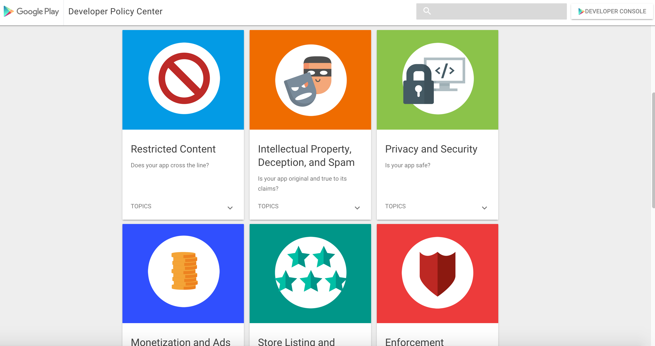 Google gives the Play Developer Program Policy Center a
