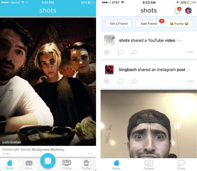 Shots has evolved from purely photo sharing (left) to now offer link sharing too (right)