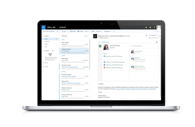 SalesforceIQ Inbox for Outlook.com
