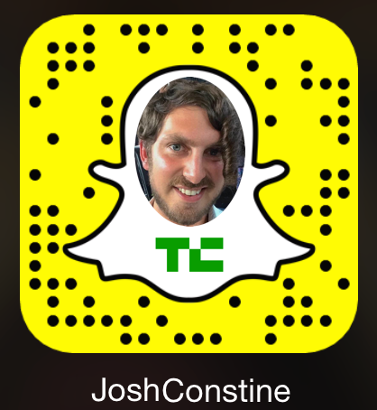 "Add me on Snapchat at ""JoshConstine"" or scan this QR Snapcode with the app's camera"