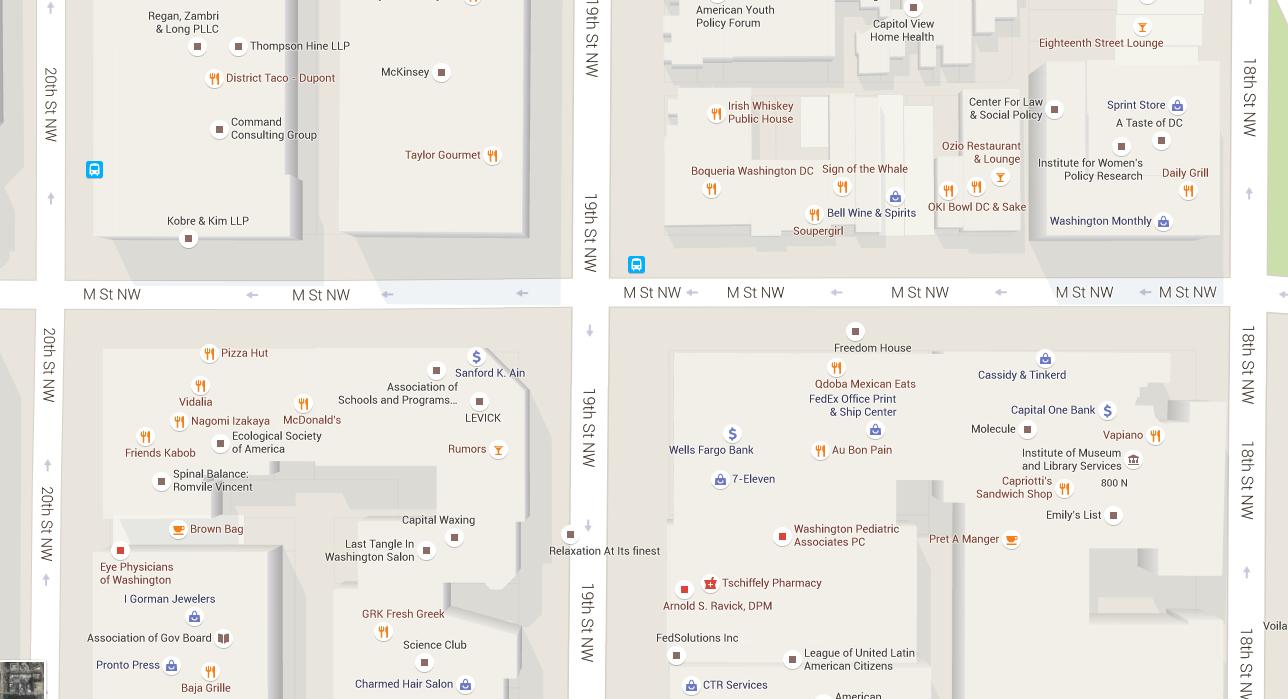 The same area on Google Maps