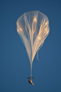 Alan Eustace attached to a high altitude balloon / Image courtesy of Paragon Space Development Corporation