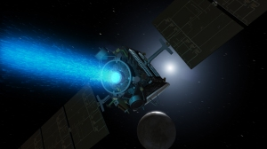 Illustration of the Dawn spacecraft with its traditional solar electric ion propulsoin system / Image courtesy of NASA
