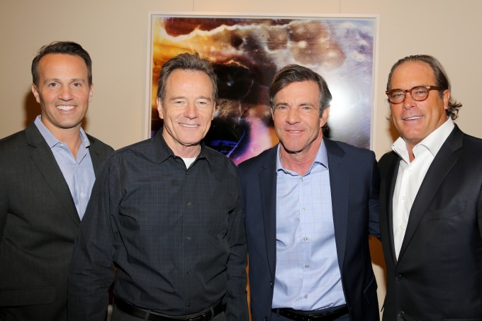 From left, GM of Crackle and EVP of Sony Pictures Digital Television Networks, Eric Berger, actors Bryan Cranston, and Dennis Quaid, and Chairman of Sony pictures Television, Steve Mosko are seen at the Crackle Upfront at New York City Center on Wed. April 20, 2016 in New York City. (Photo by Michael Zorn/Invision for Crackle/AP Images)