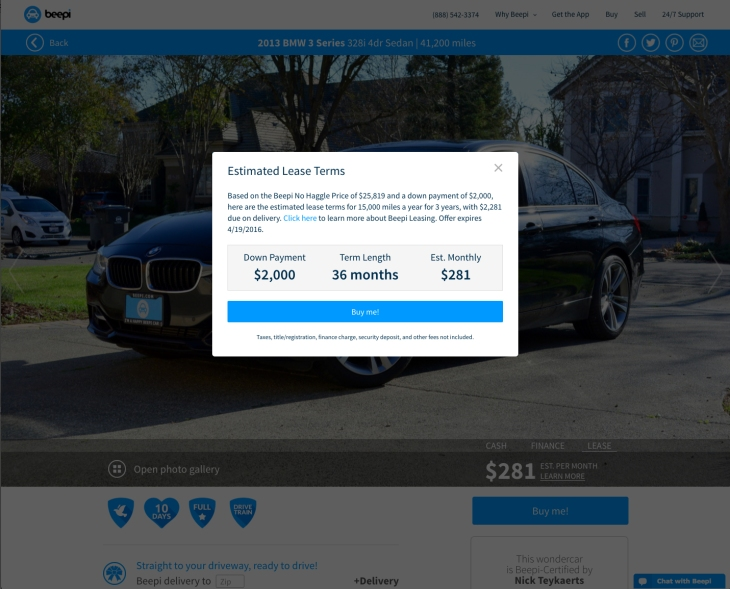Car Leases Under 200 >> Beepi Lets You Buy Sell And Now Lease A Car With An App Techcrunch