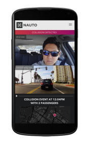 Nauto's Android app alerts drivers or fleet managers when an accident has happened.