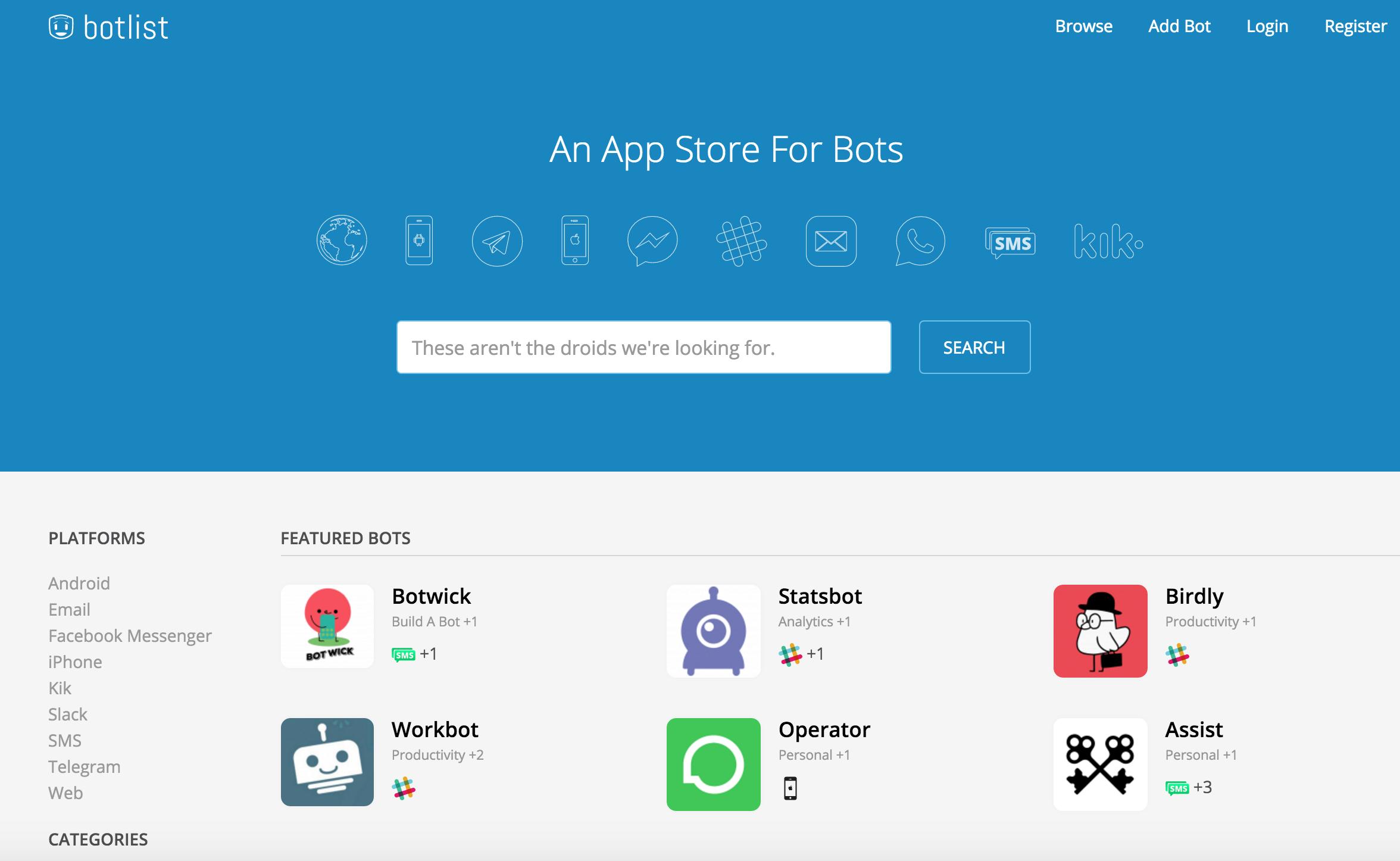 Botlist is an app store for bots | TechCrunch
