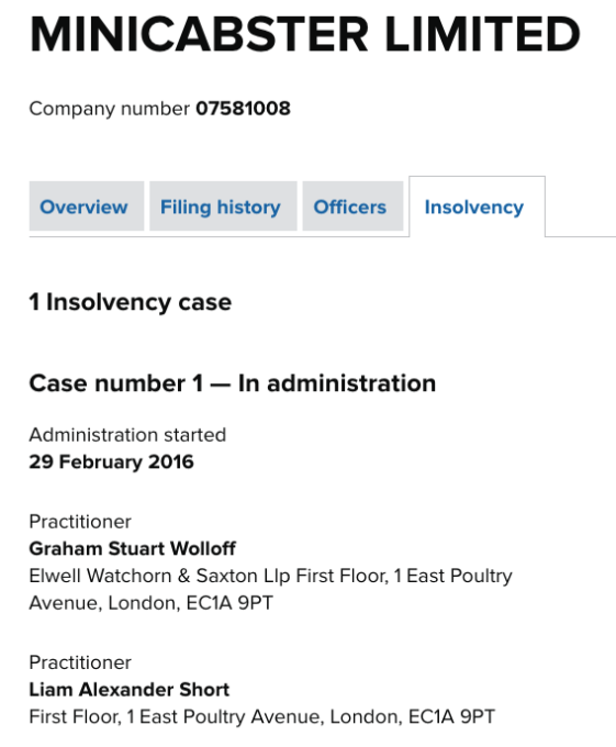 Minicabster in administration (Companies House)