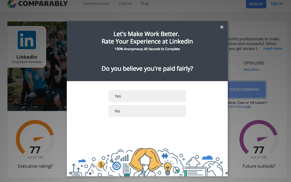 In sixty seconds, you can rate your company