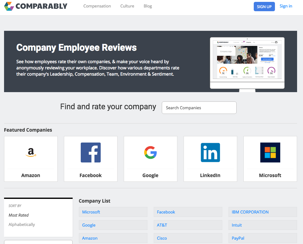 The company directory page lets you search for companies to rate or browse by most rated