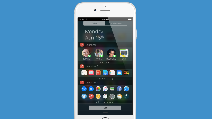 Launcher lets you create iOS widgets that display or hide