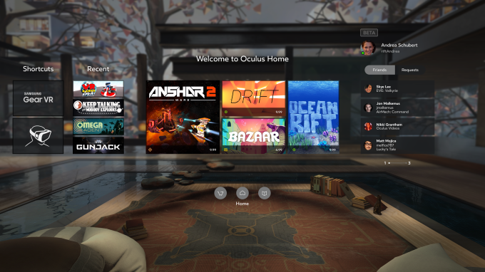 The new Oculus Home design