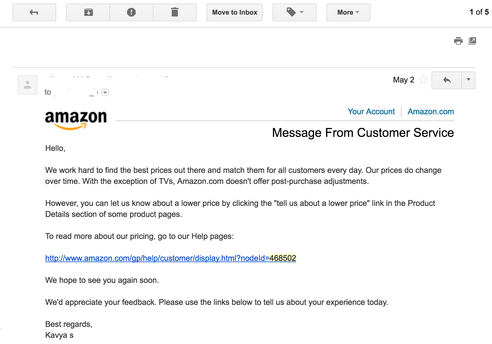Match customer service email