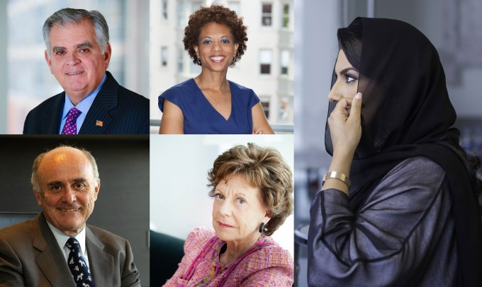 Clockwise: Ray LaHood, former Secretary of the U.S. Department of Transportation; Melody Barnes, a Co-Founder and Principal of MBSquared Solutions LLC and Vice Provost for Global Student Leadership Initiatives at New York University; Princess Reema bint Bandar Al Saud, Founder and CEO of Alf Khair; Neelie Kroes, Special Envoy for startups in the Netherland; and Professor Allan Fels, former Chairman of the Australian Competition and Consumer Commission