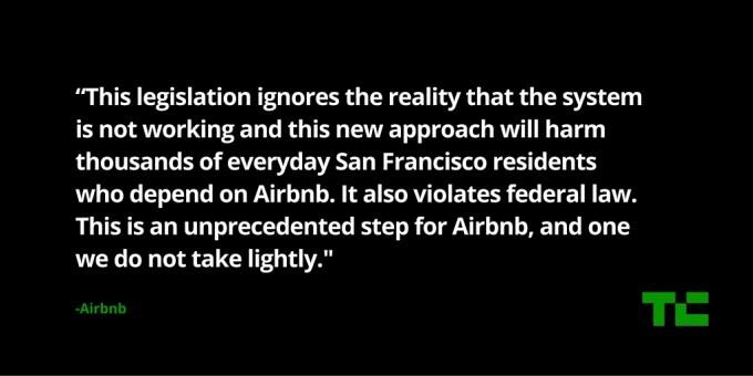 airbnb sues SF