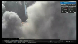 Screen shot of SpaceX live feed of rocket landing, right before the feed dropped