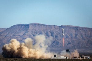 New Shepard rocket launching with crew capsule / Image courtesy of Blue Origin